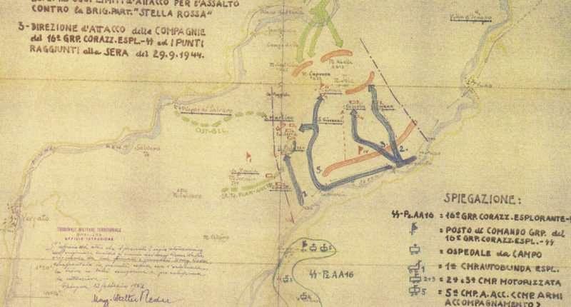 Schema dell'operazione di rastrellamento disegnato da Walter Reder al suo processo a Bologna nel 1949